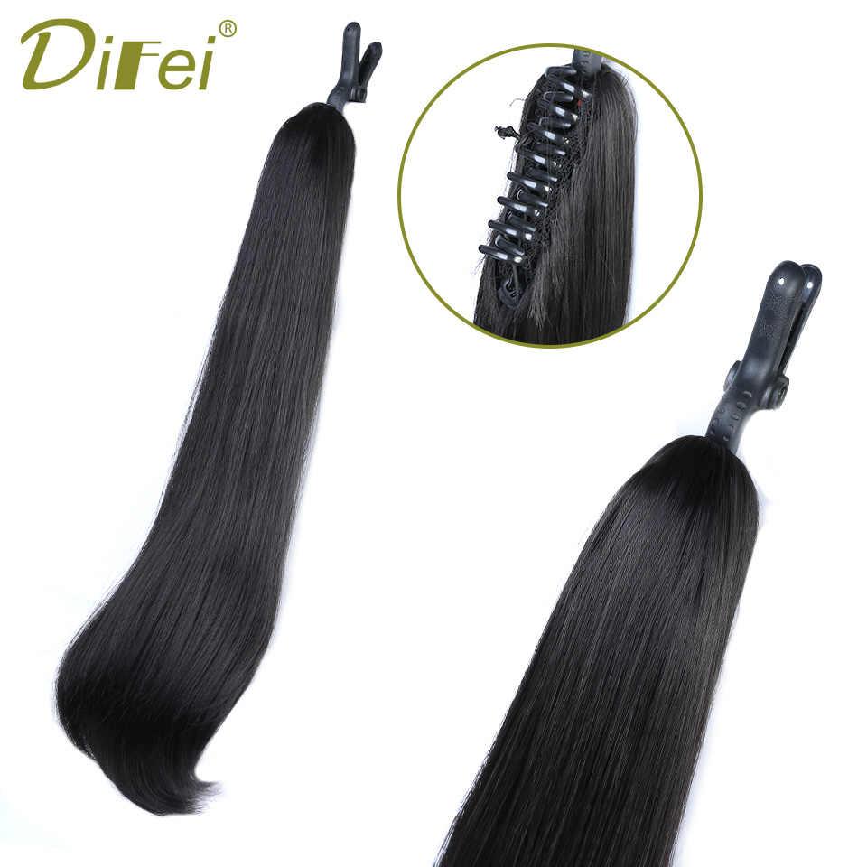 Difei 24 long clip longa cauda ondulado garra cordão rabo de cavalo resistente ao calor sintético grampo em extensões de cabelo cabelo cauda falso hairpieces