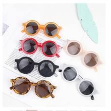 Óculos de sol redondo infantil, óculos da moda para crianças, meninos e meninas, proteção uv, colorido uv400 2020