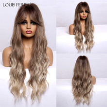 LOUIS FERRE Ombre Brown Honey Blonde Synthetic Wigs with Bnags for Black Women Long Natural Wave Cosplay Wig Heat Resistant