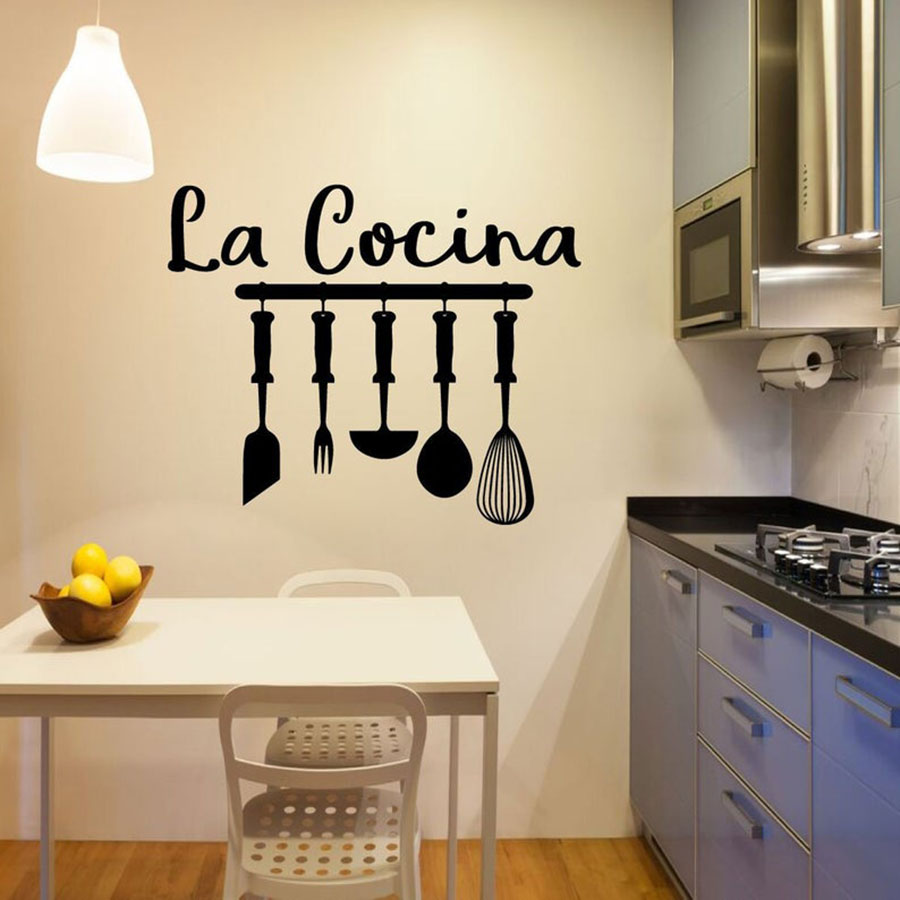 La Cocina Kitchen Wall Decal Spanish Words Lettering Kitchen Sign Vinyl Wall Stickers Restaurant Decor Kitchenware Mural S649 image