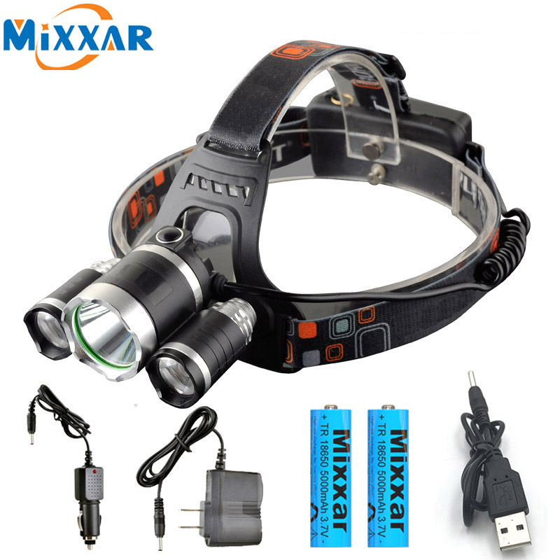 ZK20 Dropshipping T6+2*R5 T6 LED Headlamp Head Lamp Light +2x18650 Battery Headlight + Car Charger Torch Camping Fishing Lights