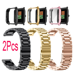 Watchband Case For Xiaomi Huami Amazfit Bip S U Lite GTS 2 Mini 2E Screen Protector Protective Cases Stainless Steel Watch Strap