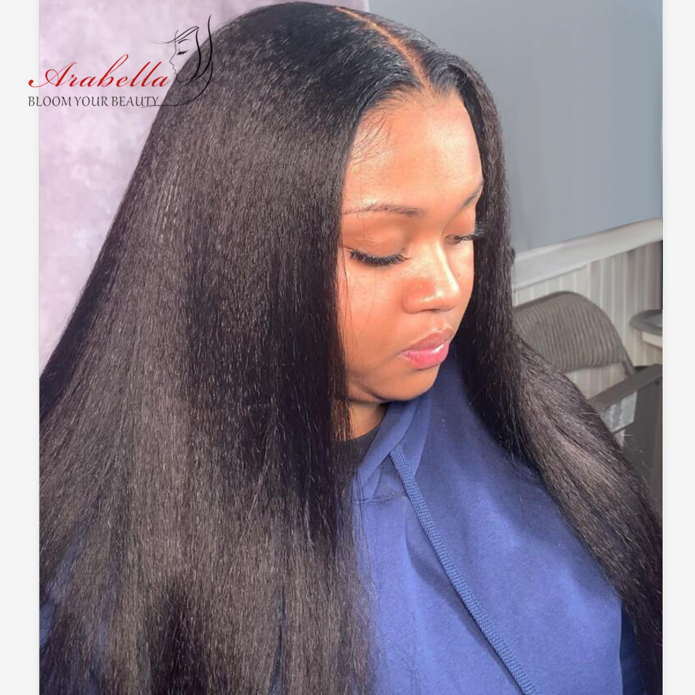 Kinky Straight  Wigs Lace Closure Wig With Baby Hair Lace Front Wig Arabella  180% Density Closure Wig 1