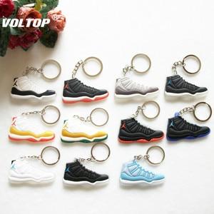 Image 3 - Voiture porte clés Mini Silicone Jordan 11 porte clés breloque pour sac femme hommes enfants porte clés cadeaux Sneaker clé accessoires chaussures