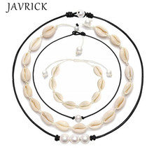 4 Pcs/set Women Simple Shell Imitation Pearl Choker Charm Lady Girls Adjustable Seashell Necklace Bracelets Set