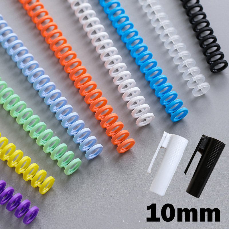 10mm Plastic Paper Binders Loose-leaf 30 Holes Binding Spiral Coil DIY Notebook Ring Coils Booking Strips School Office Supplies