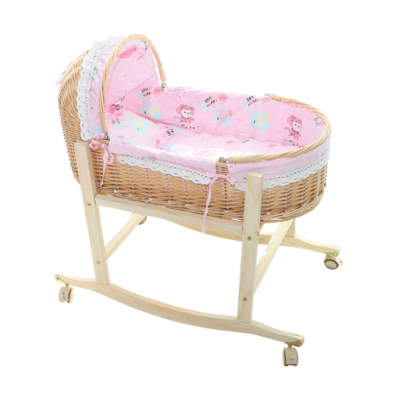 Solid Wood Infant Baby Cradle Chair Newborn Car Sleeping  Baskett Baby Cradle Portable Crib Bed With Mosquito Net 0-18month