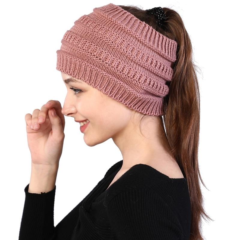 Ponytail Beanie Women Winter Stretch Knitted Crochet Beanies Hats  Hats Cap  Hot