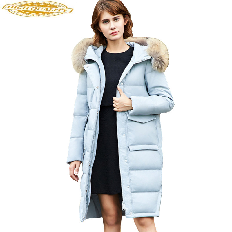 Fashion Down Jacket For Women Winter Down Jackets With 100% Natural Raccoon Fur Collar Hood Long Warm Coat Female WYQ864