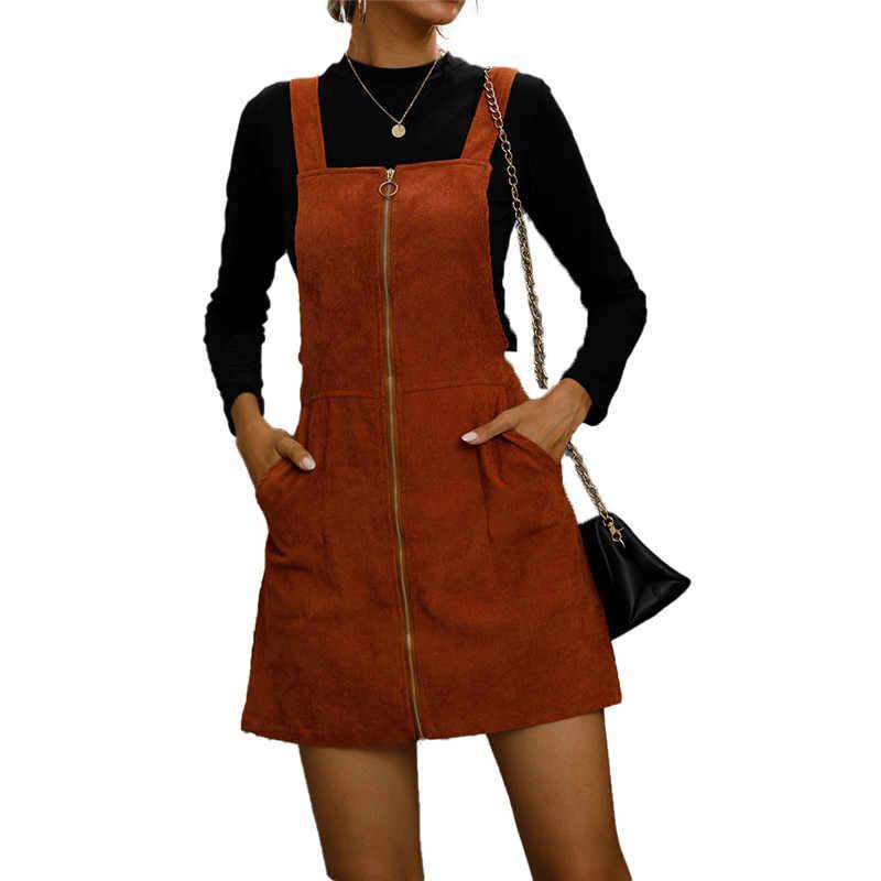 Hirigin Wanita Musim Panas Tanpa Lengan Overall Bodycon Corduroy Dress 2020 Fashion Streetwear Kasual Ritsleting Dekorasi Mengantongi Vestido