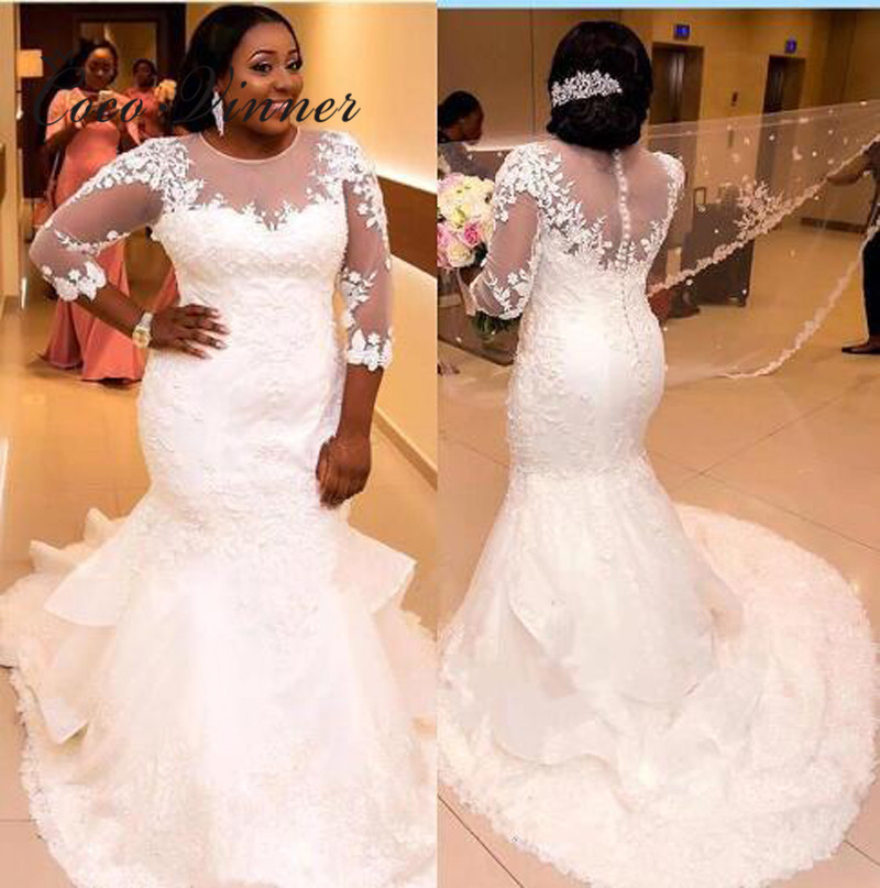 3/4 Sleeves Sheer Neck See Through Africa Mermaid Wedding Dresses 2020 Pure White Color Plus Size Custom Made Wedding Gown W0307