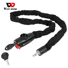 WEST BIKING Bicycle Lock MTB Road Bike Safety Anti-theft Chain Lock With 2 Keys Outdoor Cycling Bicycle Accessories Bike Lock