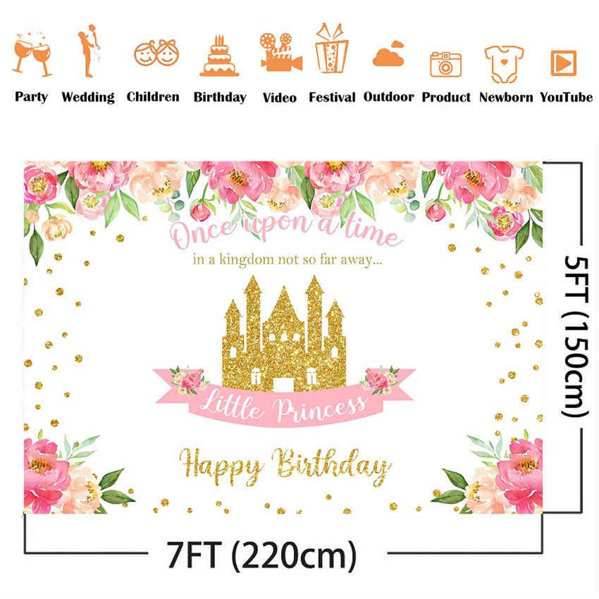 Wszystkiego najlepszego z okazji urodzin kwiatowe tło mała księżniczka 1. Dekoracja urodzinowa różowa róża kwiaty złoty zamek zdjęcie tła
