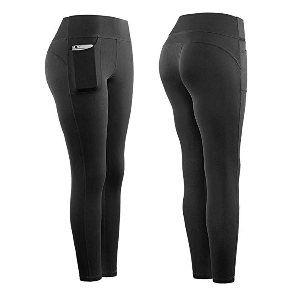 Leggings Sport Women Fitness High Waist Stretch Athletic Gym Casual Leggings Running Sports Pockets Active Pants For Cell Phone 1