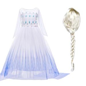 Платье принцессы Эльзы и Анны для девочек, Детский костюм с цветами и париком, вечерние маскарадные костюмы Снежной Королевы Эльзы на Хэлло...