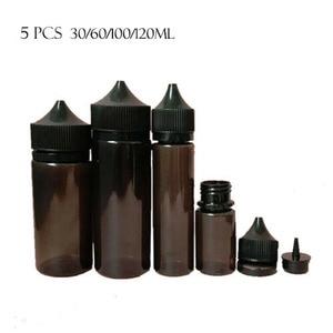 5 PCS PET 30/60/100/120 Ml Black Plastic PE Dropper Bottles Empty E Liquid Oil Containers with Black White Caps
