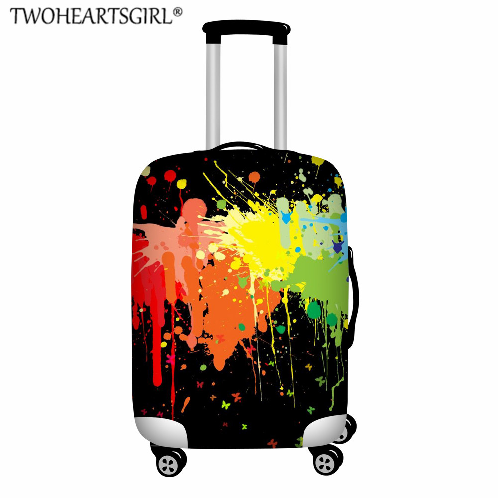 TWOHEARTSGIRL Rainbow Graffiti Print Travel Luggage Cover Thicken Elastic 18-32 Inch Suitcase Protect Dust Cover Baggage Cover