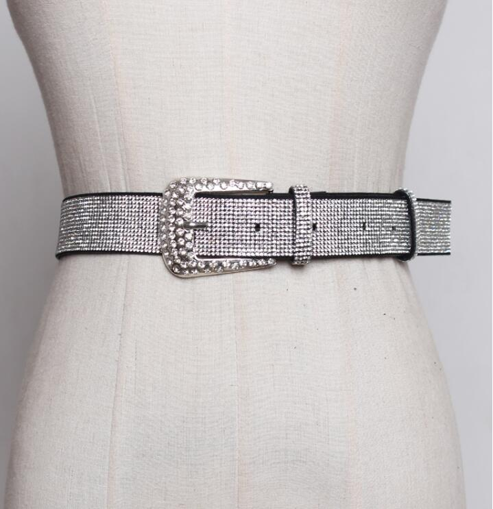 Women's Runway Fashion Diamonds Beaded Cummerbunds Female Dress Corsets Waistband Belts Decoration Wide Belt R1850