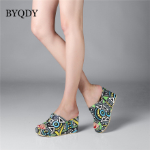 BYQDY Platform Women Sandals Wedge Heels Female Shoes Mixed Color High Heels Shoes Ladies Slip-on Open Toe Beach Sandal Plus 43 women heels sandals sexy plus size 43 high quality laser reflective high heels platform for women occupation open toe heels