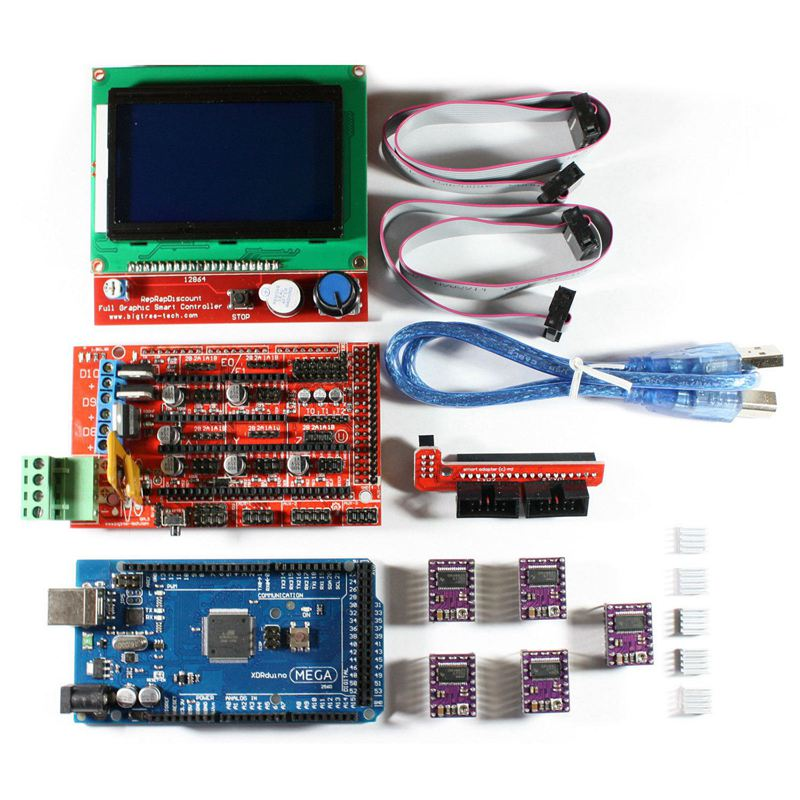 3D Printer RAMPS 1.4 Set/Kit for RepRap 3D Drucker, Mega 2560, 5xDRV8825, 12864 LCD for Arduino image