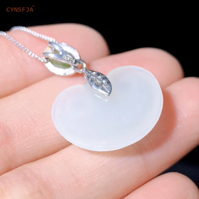 CYNSFJA Real Certified Natural Hetian Jade 925 Sterling Silver Fine Jewelry Amulet Charm Ruyi Jade Pendant Hand Carved Best Gift