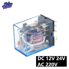 цена на Coil Power Relay LY2NJ AC 220V DC 12V 24V 10A Mini Electromagnetic Relay Electronic Omron Module DPDT 8 Pin LED Lamp Indication