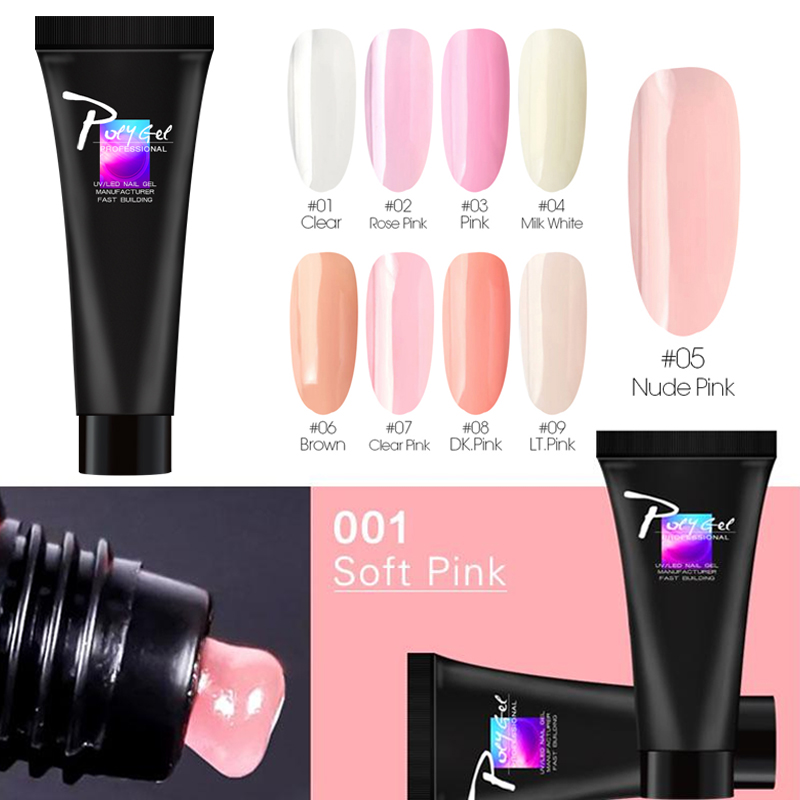 Zation Crystal Extension PolyGel Nude Color Acrylic French Quick Extension Clear Nail Art Camouflage Polygel GelLak Nail Tips