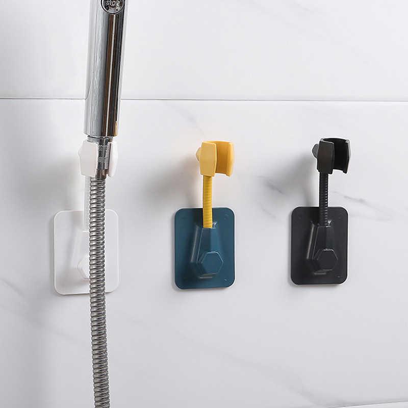 Kamar Mandi Kuat Paste-Jenis Dinding Pemegang Adjustable Hand Shower Kepala Bracket Kamar Mandi Aksesori PUNCH-Gratis Rak