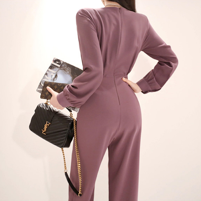 2020 Summer High Quality Double Breasted V Collar Office Women Cloth Long Pant Slim High Waist Overalls Work Casual Jumpsuits
