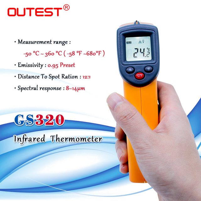 Digital Laser infrared thermometer Non contact IR thermometer GS320  50~360C ( 58~680F) Laser Point Gun Themperature meter