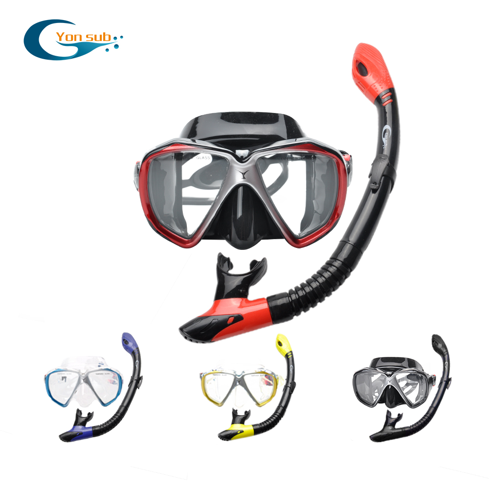 Yonsub Scuba Diving Masks +Full Dry Silicone Snorkel Tube Set With Box Men Women Swimming Underwater Big View Goggle