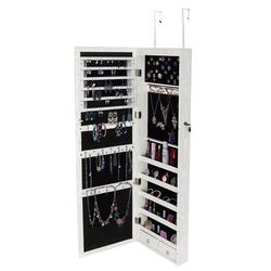 Wall Door Mounted Mirror Jewelry Storage Cabinet Accessories Package Lockable Armoire Organizer with LED Light Home Furniture