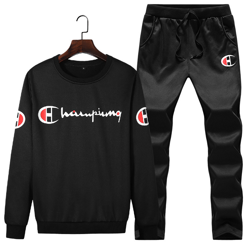 Sports Set Men's Spring And Autumn Hoodie Leisure Suit Men Clothes Crew Neck Two-Piece Set Trend