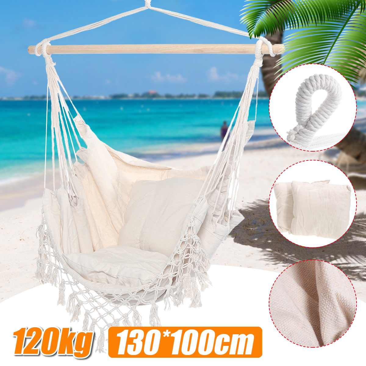 Indoor Outdoor Fringed Camping Hammock Swing Chair with pillows Garden Hanging Chair Travel For Child Adult 120kg Capacity