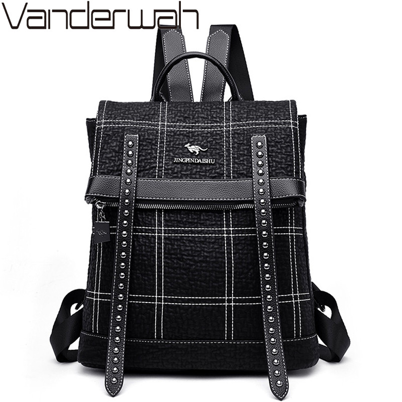 Fashion Checkered Women Leather Backpack Female School Bags Multifunction Backpacks For Girls Shoulder Bag Travel Bags Mochilas