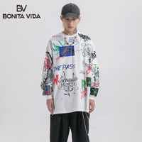 Bonita Vida Letter Printed Hip Hop Long Sleeve T Shirts Men 2019 Fashion Cotton Pullover Casual Tops Tee Streetwear Men T Shirts