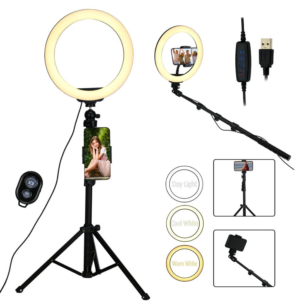 """10"""" Selfie LED Ring Light w/ 51in Extendable Tripod Stand & Phone Holder Light weight  USB 3 Color Dimmable Adjustable Floor Lamps     - title="""