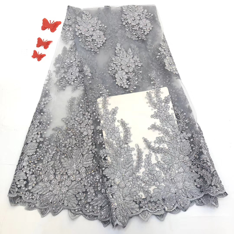 Best Selling African Lace Fabric Sequins 2020 French Lace Dubai Appliques Nigerian Tulle Lace Fabric For Bridal Material