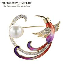 Neoglory Cute Phoenix Bird Brooches Animal Cubic Zircon Enamel Pearl Jewelry For Women High Quality Gift For Mother's Day