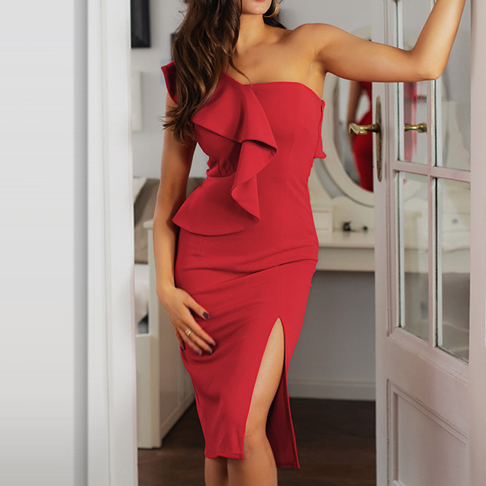 Ruffles One Shoulder Cocktail Party Dress Sexy Split 2020 Summer Sundress Elegant Women's Red Bodycon Midi Robe