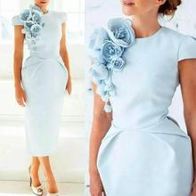 Light Blue Cap Sleeves Wedding Groom gown Custom Made Formal Wear Evening Gowns Tea Length Sheath Mother Of The Bride Dresses