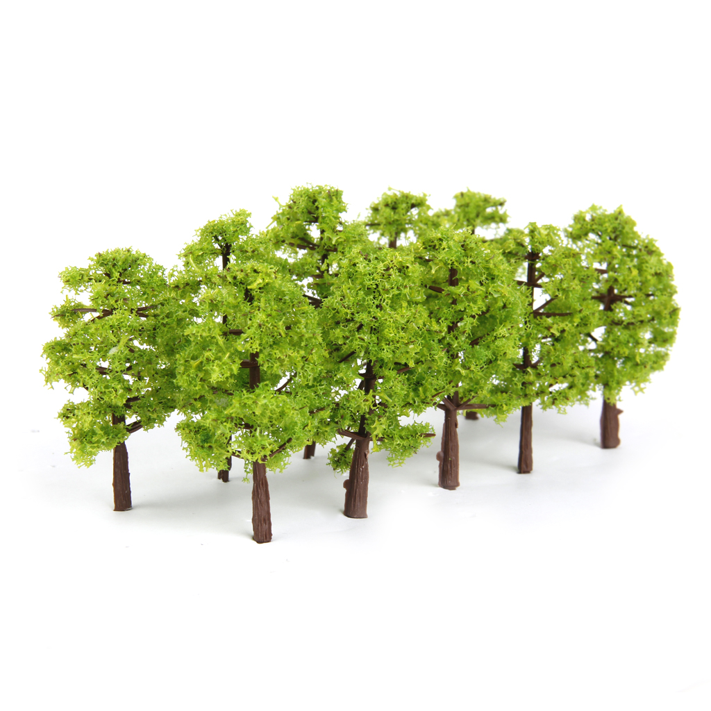 20pcs Model Tree Light Green Train Railroad Architecture Diorama N Scale for DIY Crafts or Building Models image