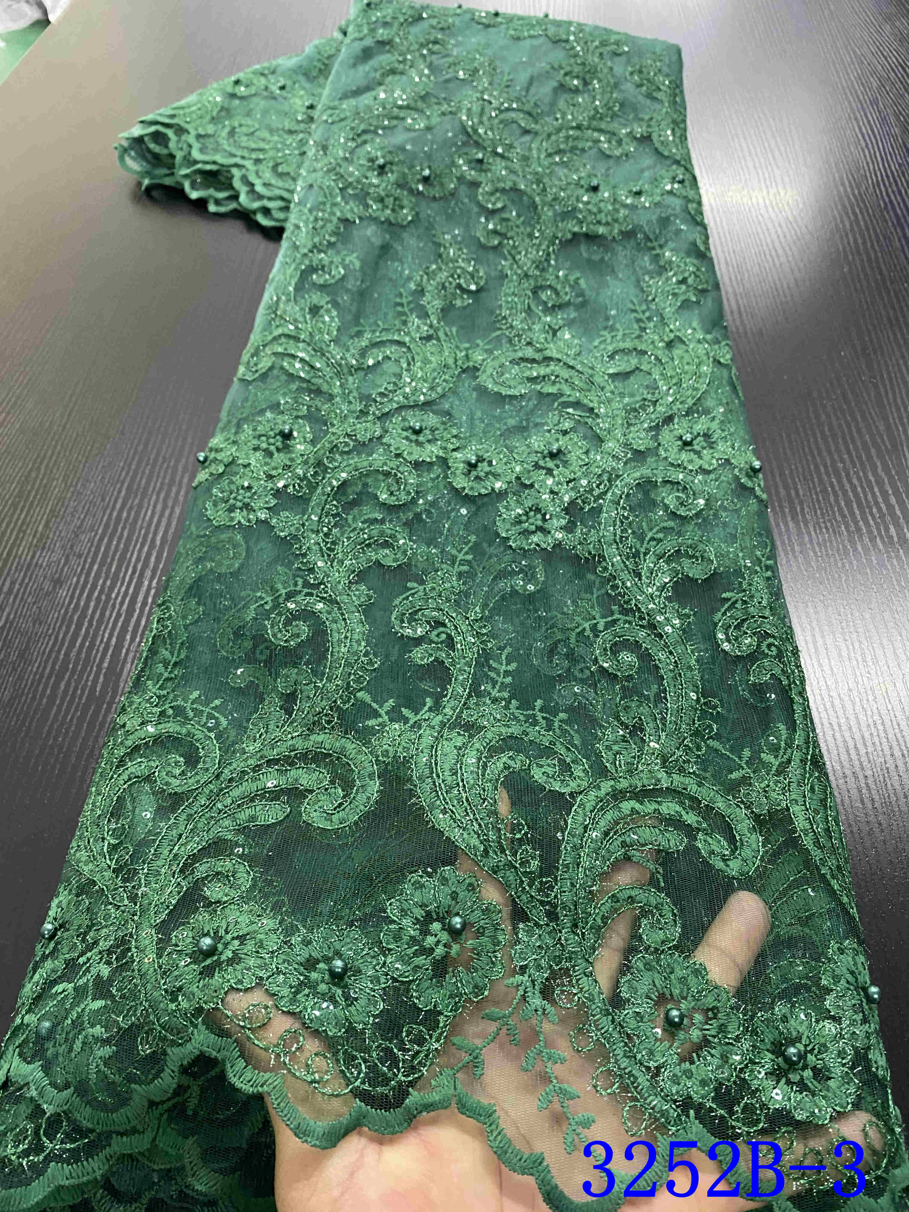 African Lace Fabric Embroidered Nigerian Lace Fabric Bridal 2020 High Quality French Tulle Lace Fabric For Women Dress YA3252B-3
