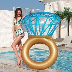 Image 1 - Rooxin 140cm יהלומי מתנפח שחייה מעגל רפסודת בריכה לצוף טבעת שחייה למבוגרים נשים תמונה אבזרי בריכת צעצועי החוף המפלגה