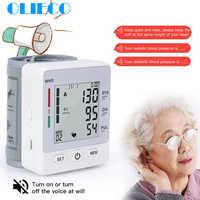 OLIECO USB Rechargeable Voice Blood Pressure Monitor Meter Portable Wrist Digital Sphygmomanometer Big Screen 2 User pulsometer