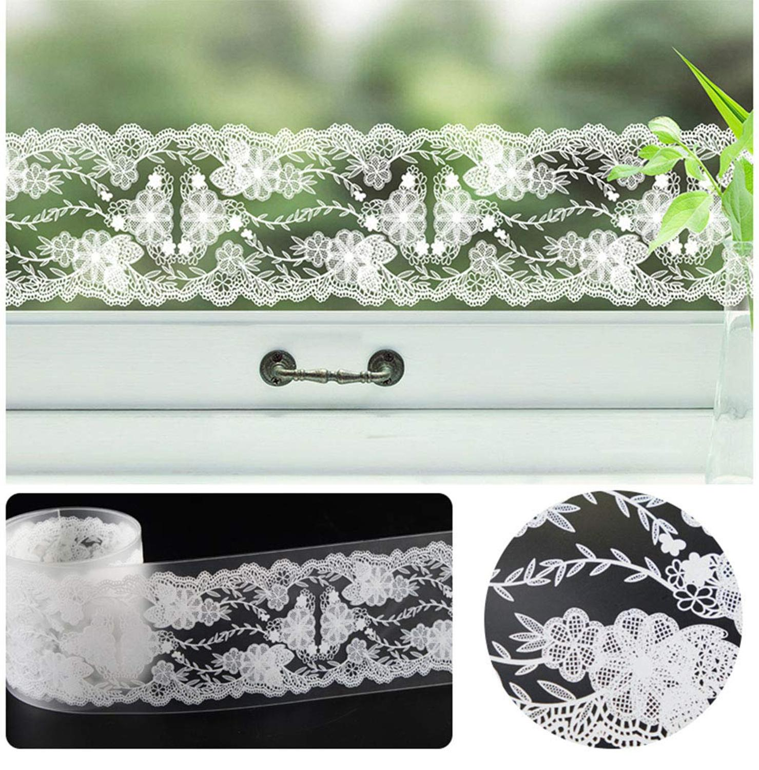 GLOW4U White Lace Peel and Stick Wallpaper Border for Bathroom Kitchen Window Mirror Transparent Shop Home