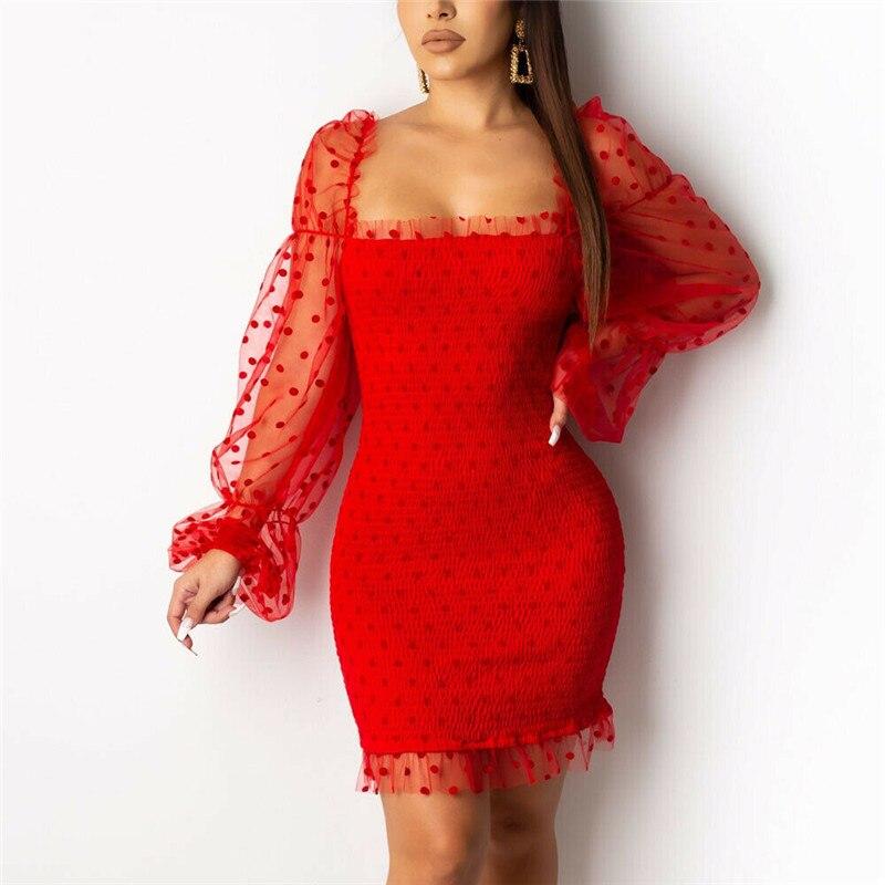 Mode Frauen Dame Mesh Sheer Bodycon Mini Kleid Puff Hülse Abend Party Club Sheer Hülse Dot Kleid