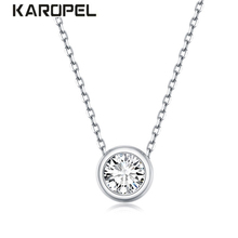 2019 New Trendy 925 Sterling Silver Zircon Pendant Necklace for Women Round Fashion Jewelry Wedding Cute Jewelry Gift