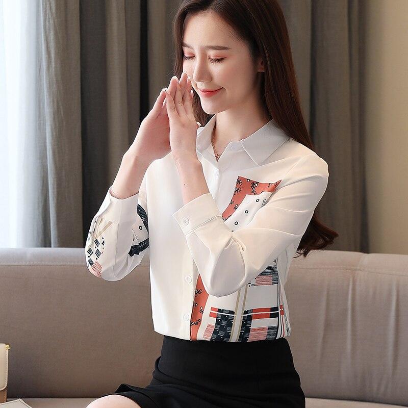 Korean Fashion Clothing Blusas Mujer De Moda 2021 Spring Long Sleeve Office Lady Blouse  Print Button  Chiffon Shirts 8805 50 3