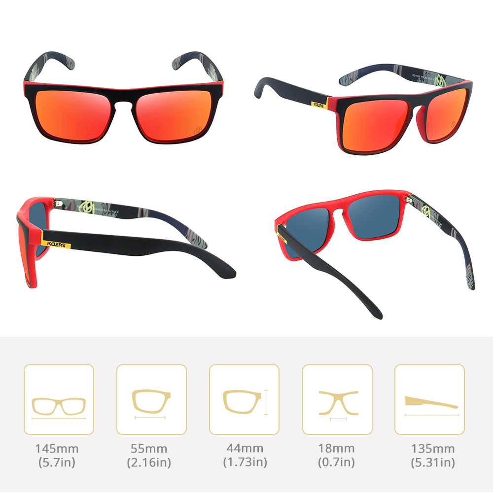 KDEAM LUXURY Fashion Square Polarized Sunglasses Men  TR90 Frame 100% UV Protection Mirrored Red lens With Case KD1006-C4